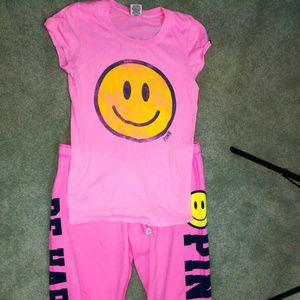 Vintage VS PINK Be Happy TShirt & Capri Pants Set